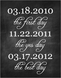 Wedding- Dates sign- First day, yes day, best day- Custom Chalkboard Print- Digital File for Download by NansCakesandCreation on Etsy https://www.etsy.com/listing/163912110/wedding-dates-sign-first-day-yes-day