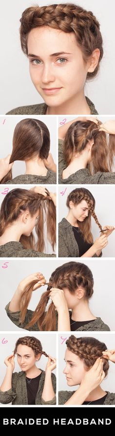 Braided headband.  Would be a great updo for work, swimming, gardening... anything where you need it out of the way.
