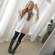 """""""Yesterday's rainy day outfit... The weather has been so yucky in Texas I have been living in these boots!! This sweater has become a new favorite, It…"""""""
