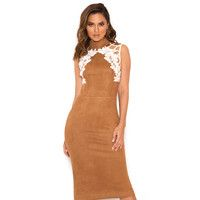 'Rayna'  Tan Suedette and Lace Dress - SALE