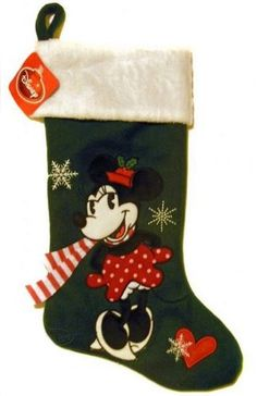 Disney Classic Minnie Mouse with Scarf Applique Christmas Stocking Disney Christmas Stockings, Mickey Mouse, Applique, Holiday Decor, Classic, Boots, Xmas, Disney Christmas, Derby