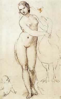 "Raffaello Santi, Raphael (1483–1520). Italian painter and architect. ""Leda and the Swan"" (circa 1506). Studio. Pen and ink over chalk. 310x192mm. Royal Collection, Windsor Castle."