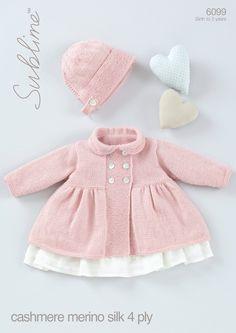 Sublime Bebek Kaşmir Merinos İpek 4 Ply'nin içinde Bonnet Bebek Kız Peter Pan Yakalı Coat (6099)
