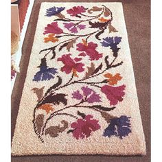 Chintz x cm) latch hook rug kit. Kit comes complete with chart, mesh latch hook canvas, yarn is 2 x 3 ply acrylic pre-cut rug yarn (equivalent to 6 ply) and complete instructions. Requires latch hook tool to complete. Latch Hook Rug Kits, Rug Hooking Patterns, Rug Yarn, Penny Rugs, Punch Needle, Rug Making, Handmade Rugs, Cross Stitch, Weaving