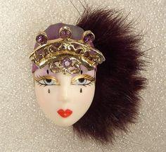 SALE  Celia  Lady Face Pin Brooch Broach Woman Head by lindainred, $21.00
