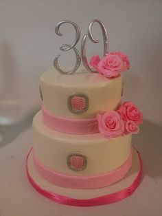 Birthday Cakes for fabulous women.♥♥  - Red velvet cake with cream cheese icing and fondant. Handmade roses.