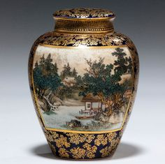 A Satsuma tea jar with its original inner and outer lid by Kinkozan and artist signed Konen, two painted panels, one women and children, the other a lake scene.