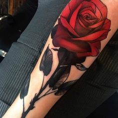 Amazing red rose tattoo - 120  Meaningful Rose Tattoo Designs  <3 <3