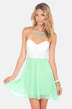 Eyelets Fall In Love Lace Mint Green Dress. I love that Lulu's has a mint section!!! #lulusrocktheroad