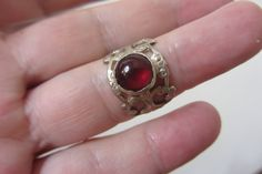 Garnet Adjustable Ring  Lace Band Ring  Pattern Band by bgezunt