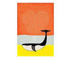 Affiche WHALE LOVE papier, orange - A3