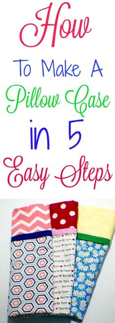 How to make a pillow case in 5 easy steps, Sew a pillow case, Make a pillow case. : How to make a pillow case in 5 easy steps, Sew a pillow case, Make a pillow case. Sew a simple pillow case. Pillow case pattern and tutorial. Sewing Hacks, Sewing Tutorials, Sewing Crafts, Sewing Tips, Crafts To Sew, Easy Crafts, Tutorial Sewing, Sewing Lessons, Dress Tutorials