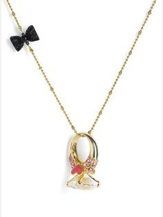Betsey Johnson 'Betsey's Dollhouse' Engagement Ring Pendant Long Necklace