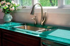 recycled glass countertops: Color to Amber