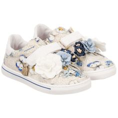 Girls Floral Canvas Trainers for Girl by Monnalisa. Discover more beautiful designer Shoes for kids online at Childrensalon.co.