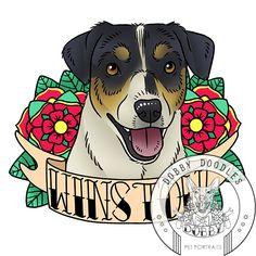 Dobby Doodles custom pet portraits inspired by old school tattoos. Just $25! #dog #dogtattoo #oldschooltattoo #petportrait www.dobbydoodles.com