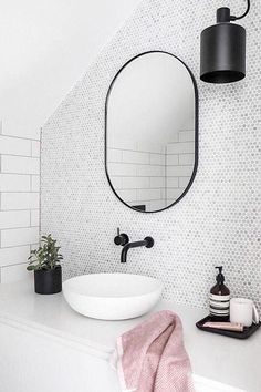 49 Simply Black And White Tile Bathroom Decor Ideas – Design Neutral Bathroom Tile, White Bathroom, Bathroom Interior, Small Bathroom, Shiplap Bathroom, Bathroom Ideas, Bathroom Sinks, Parisian Bathroom, Lavender Bathroom