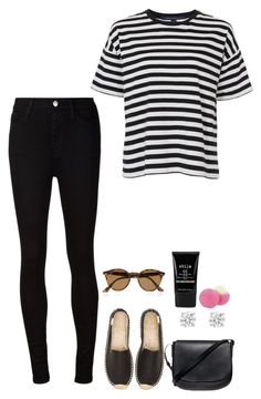 """Untitled #350"" by h1234l on Polyvore featuring AG Adriano Goldschmied, French Connection, Soludos, Mansur Gavriel, Ray-Ban, Stila and Eos"