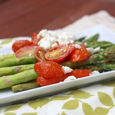 side dishes don't have to be complicated! asparagus with feta & roasted tomatoes