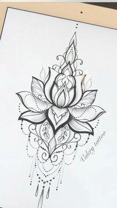 Sternum Tattoo Lotus, Sternum Tattoo Design, Mandala Thigh Tattoo, Mandala Flower Tattoos, Lily Flower Tattoos, Sternum Tattoos, Mandala Tattoos For Women, Flower Mandala, Dope Tattoos
