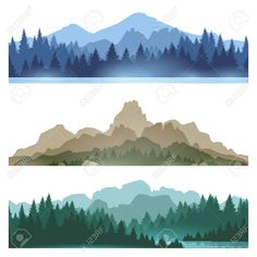 Illustration of Foggy mountains landscape set vector illustration. Smokey rocky panorama with mountains skyline and pine tree forest silhouettes vector art, clipart and stock vectors. Berg Illustration, Mountain Illustration, Forest Illustration, Pine Tree Silhouette, Forest Silhouette, Landscape Silhouette, Mountain Silhouette, Silhouette Painting, Pine Tree Art