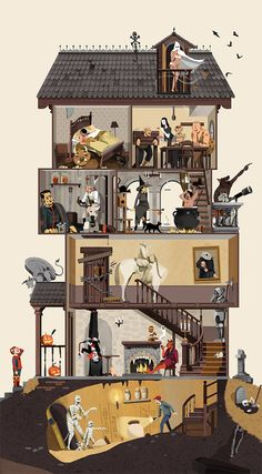 Nathan Hackett created a multi-level haunted house filled with a monster under the bed, Frankenstein, witches, cauldrons, a headless horseman and mummies Casa Halloween, Halloween Haunted Houses, Children's Book Illustration, Digital Illustration, Pixel Art, Sapo Meme, Monster Under The Bed, Art Inspo, Home Art