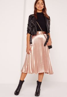 Missguided - Full Pleated Midi Skirt Rose Gold
