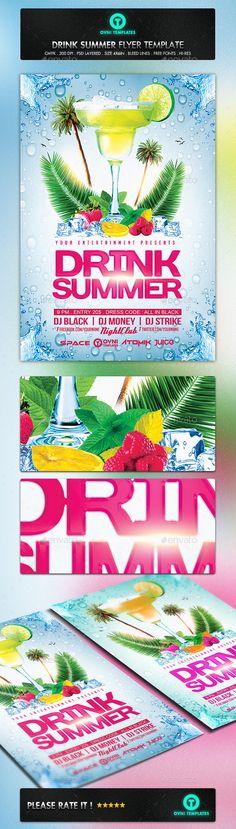Summer Beach Cocktail Drink Flyer Template - Flyers Print Templates