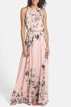 Charming Floral Printed Sleeveless Maxi Dress novashe.com