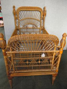 Antique Victorian wicker baby crib, excellent condition with some minor breaks, original natural finish, long, on Apr 2013 Wicker Patio Furniture, Baby Furniture, Unique Furniture, Wicker Chairs, Old Wicker, White Wicker, Victorian Decor, Baby Cribs, Bed Rooms