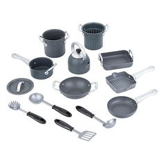 """Just Like Home Nonstick Cookware - Grey and Black -  Toys R Us - Toys""""R""""Us"""