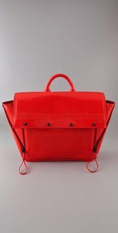 3.1 Phillip Lim Soft Patent Satchel - StyleSays Outfit Essentials, Vermilion Red, Phillip Lim Bag, Structured Bag, Sweater Sale, Dress For Success, Geek Chic, Fashion Bags, Women's Fashion