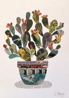 Print of an original art prickly pear cactus collage. Created with vintage postcards and magazines. Inspired by the desert and wanderlust. Collage Nature, Collage Foto, Paper Collage Art, Paper Art, Collage Artwork, Collage Illustrations, Art Collages, Collage Drawing, Collage Design