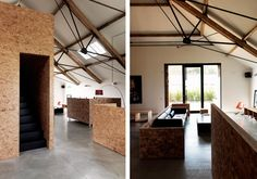 I like chipboard! Lovely barn conversion by Carl Turner Architects.