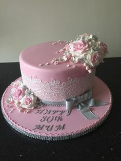Lace and roses birthday cake  - cake by Donnajanecakes