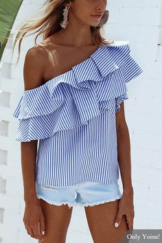 Navy Sexy Stripe Pattern One Shoulder Flouncy Details Top
