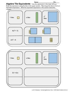 Equivalent Expressions Using Algebra Tiles Equivalent Expressions, Home Study, Formative Assessment, Common Core Math, Math Resources, Algebra, Tiles, Hold On, Classroom