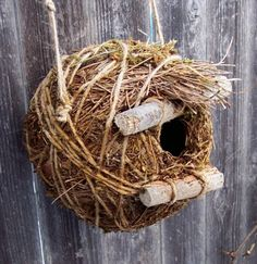 Pine needle and sticks rustic Birdhouse  by bearpawrustics on Etsy
