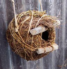 Pine needle and sticks rustic Birdhouse  by bearpawrustics on Etsy