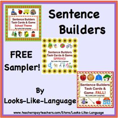 FREE! Try out some worksheets from my Sentence Builders units. Then check out the great games and activities in the complete units! FREE!