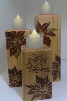 Candles stamped with Stampendous new Poinsettia