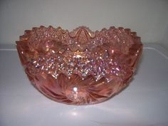 *L.E. SMITH ~ Pink Carnival Cut Glass Bowl Hobstar Pattern