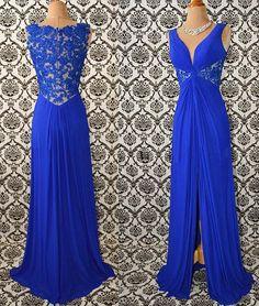 Royal blue v neck chiffon lace long prom dress, evening dress