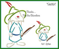 Skippy Bunny from Robin Hood Fox Digital Embroidery Machine Sketch Design File 4x4 5x7 6x10 by Thanks4TheAdventure on Etsy