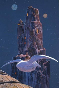 digital Art, Fantasy Art, Nature, Jean Giraud, Mœbius, Flying, Psychedelic, Mountain, Moon, Stars, Rock, Portrait Display, Men, Birds, Pelicans, Arzach hd wallpaper