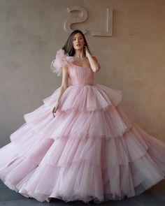 A-line Gorgeous One Shoulder Pink Tulle Long Modest Prom Dresses, Ball gown Tulle Ball Gown, Ball Gowns Prom, Tulle Dress, Party Gowns, Indian Gowns Dresses, Evening Dresses, Pink Gowns, Puffy Prom Dresses, Wedding Dress Cinderella