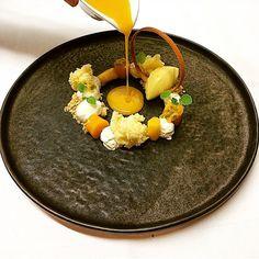 """Textures of mango, passion fruit & mascarpone. Stunning dessert uploaded by @matthijsmannaerts #gastroart"""