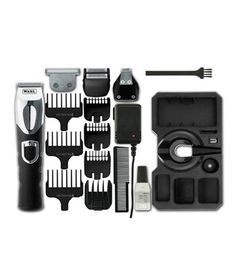 Wahl Deluxe Rechargeable Grooming Hair Beard Trimmer Station Kit - Product Features Rechargeable deluxe grooming station Four interchangeable cutting heads--standard, T blade, detail and dual foil shaver Up to 45 minutes cordless use when Foil Shaver, Multi Usage, Beard Trimming, Grooming Kit, Hair And Beard Styles, All In One, Cool Stuff, Blade, Uk Health