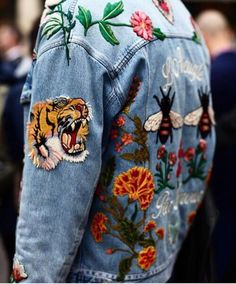 Jacket, patch, flower, jean, yellow, orange, red, pink, fly