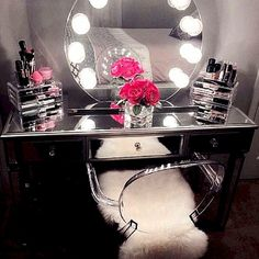 Makeup Vanity Table With Lighted Mirror Cheap into Makeup Bag Gift Ideas only Makeup Jar another Makeup And Vanity Set A Glowing Light round Makeup Vanity Without Mirror Vanity Table With Lights, Mirrored Vanity Table, Makeup Table Vanity, Vanity Room, Vanity Set, Makeup Vanities, Mirror Vanity, Vanity Tables, Makeup Tables